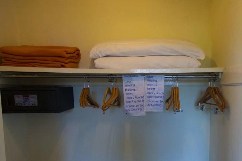 The closet and safe.