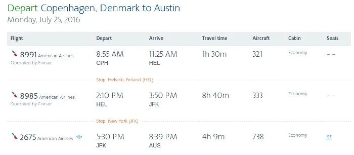My return itinerary from Copenhagen to Austin included almost nine hours on-board Finnair's A330-300.