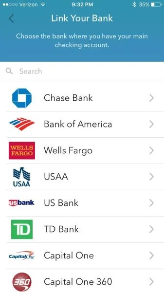 Acorns can link accounts from a huge list list of banks.