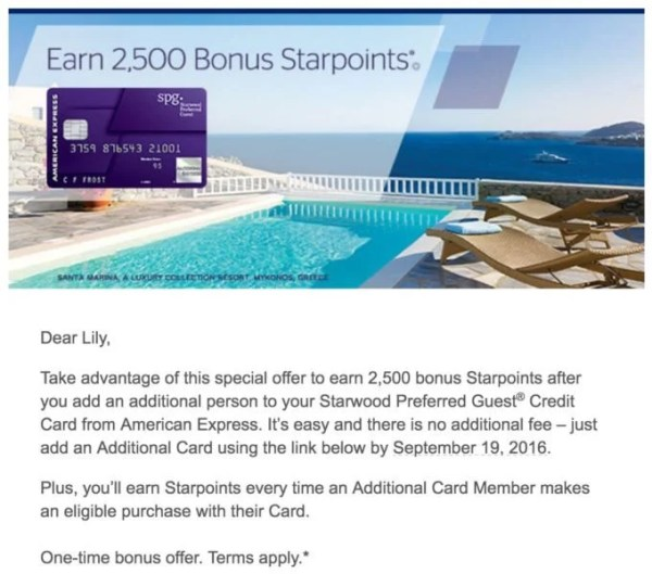 Score 2,500 SPG Points By Adding An Authorized User