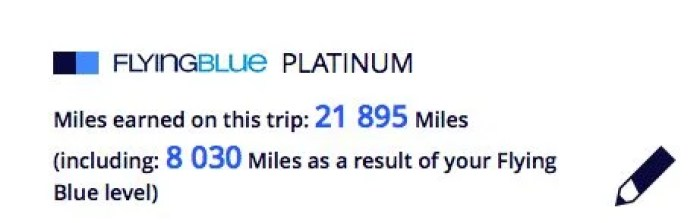 If I had credited to Flying Blue, I would have earned 21,895 miles.