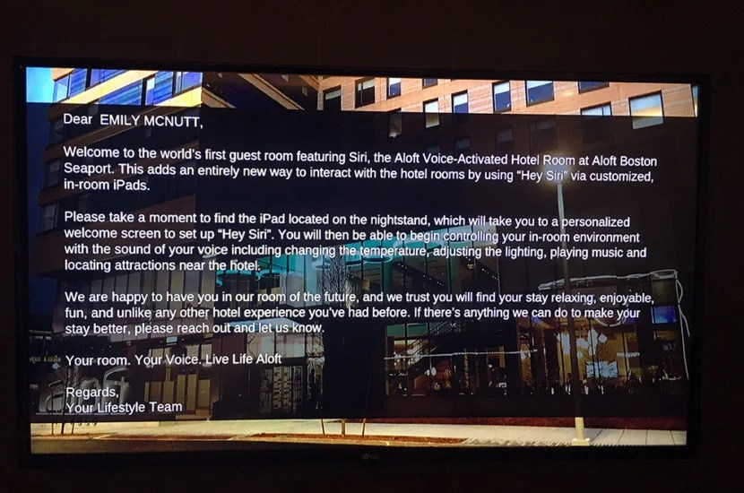 An on-screen welcome message.