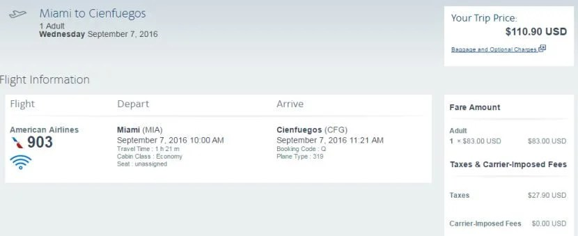 Although there's no award seats, the cash fares on the inaugural flight from MIA-CFG is just $111 one-way!