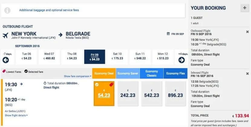 New York (JFK) to Belgrade (BEG) for $149 round-trip on Air Serbia.