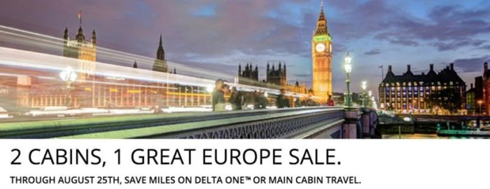 Delta's hosting a sale for award tickets to Europe.
