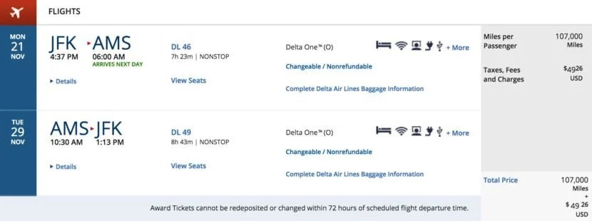 New York (JFK) to Amsterdam (AMS) round-trip for 107,000 SkyMiles + $49.06 in Delta One.