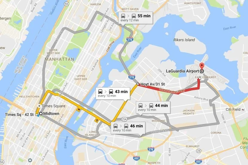 Bus options from Midtown Manhattan.