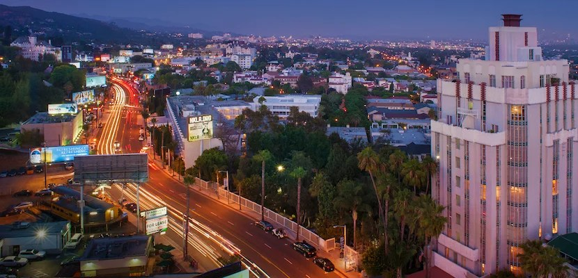 Sunset Boulevard by night. Image courtesy of Visit West Hollywood.