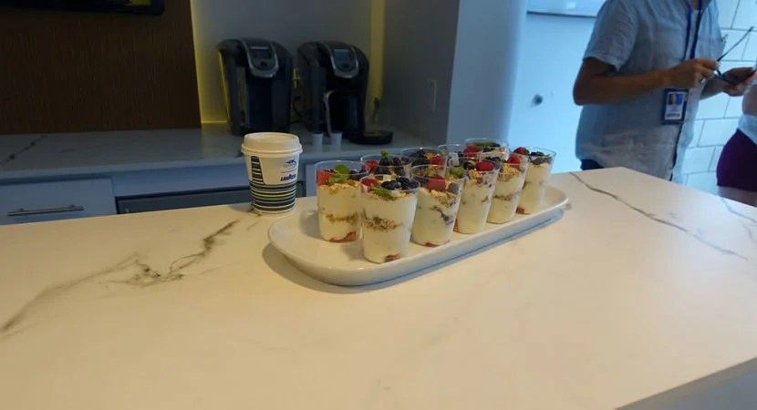 The yogurt parfaits had fresh fruit and granola and was a very good snack.
