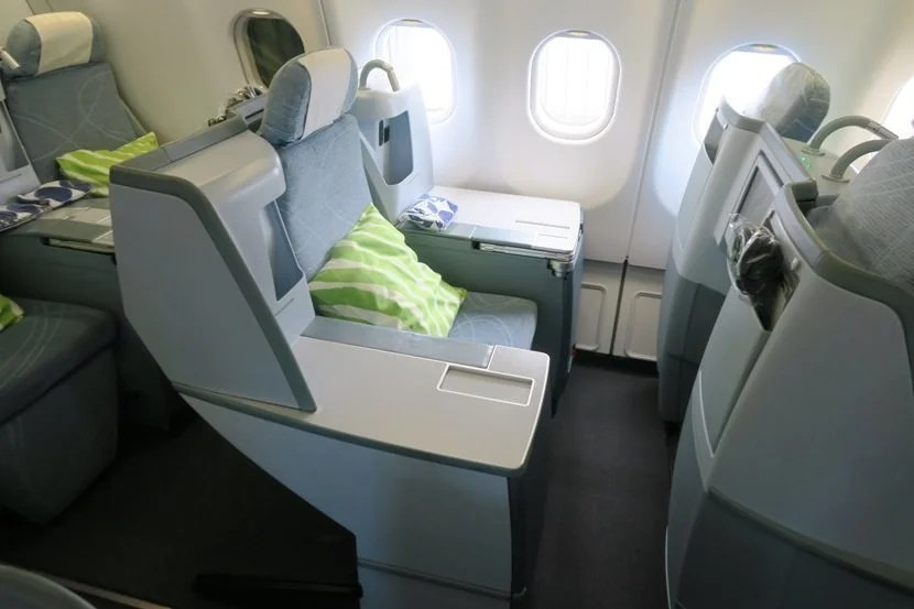 """There are three """"throne seats"""" on this version of the Finnair A330-300."""