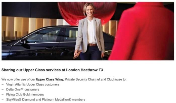 Virgin Atlantic still lists Clubhouse access as a Delta elite perk.