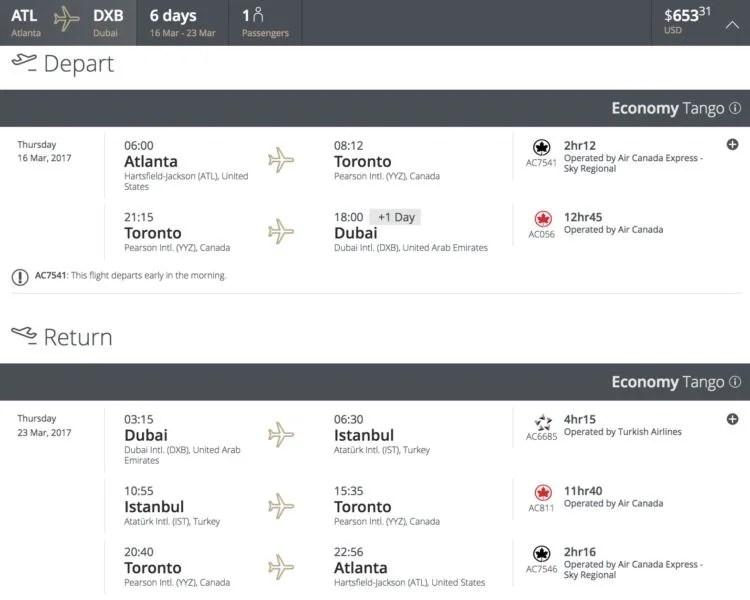 Atlanta (ATL) to Dubai (DXB) for $653 round-trip in March.