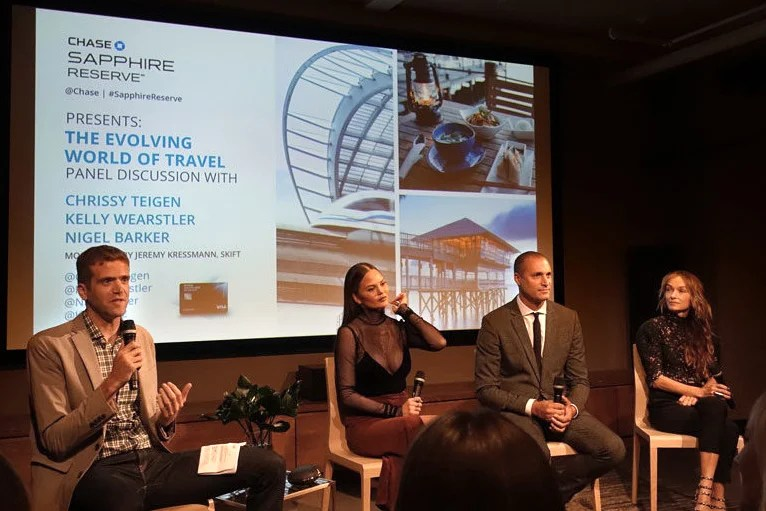 Chrissy Teigen, Nigel Barker, and Kelly Wearstler shared some of their travel tips in a panel moderated by Skift's Jeremy Kressmann.