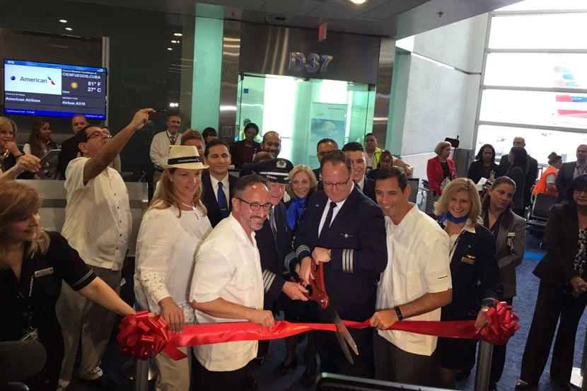 An official ribbon ceremony cutting for the first flight.