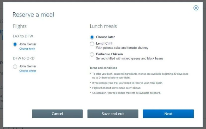 Screenshot of my meal choice prior to check-in.