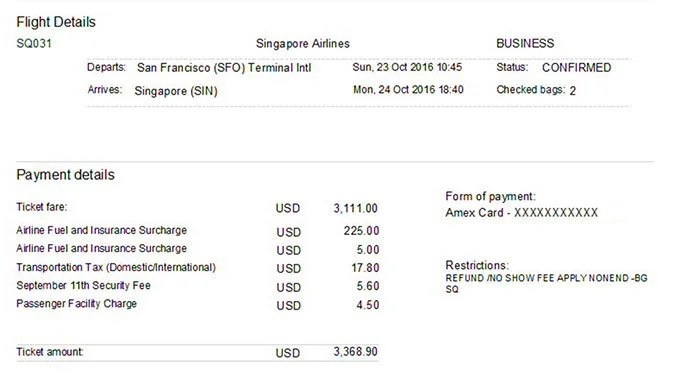 The receipt for my flight to Singapore, which I paid for with my Amex Premier Rewards Gold card.