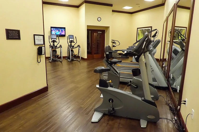 The hotel's fitness center isn't super fancy, but it has all the basics.