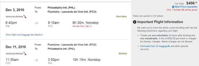 Philadelphia (PHL) to Rome (FCO) for $496 round-trip: