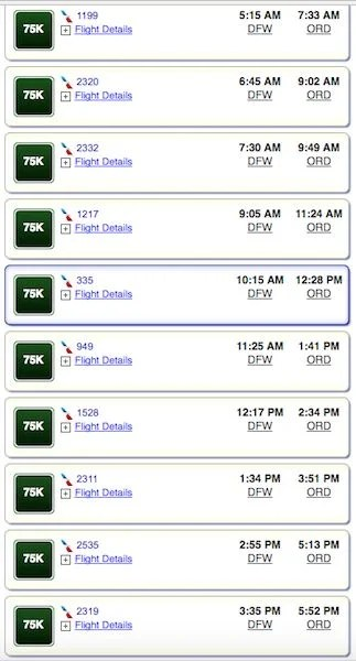 All 16 flights for DFW-ORD on Nov 27th cost 75,000 miles per seat.