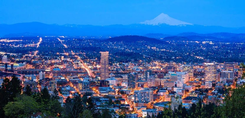 Portland, Oregon, at night. Image courtesy of Shutterstock.