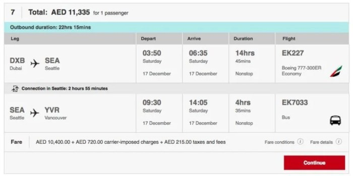 The bus service is listed just like a connecting flight would be displayed.