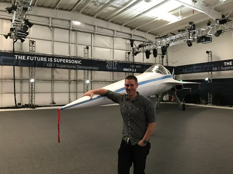 Boom's Chief Engineer Joe Wilding is clearly proud of the XB-1 Supersonic demonstrator.