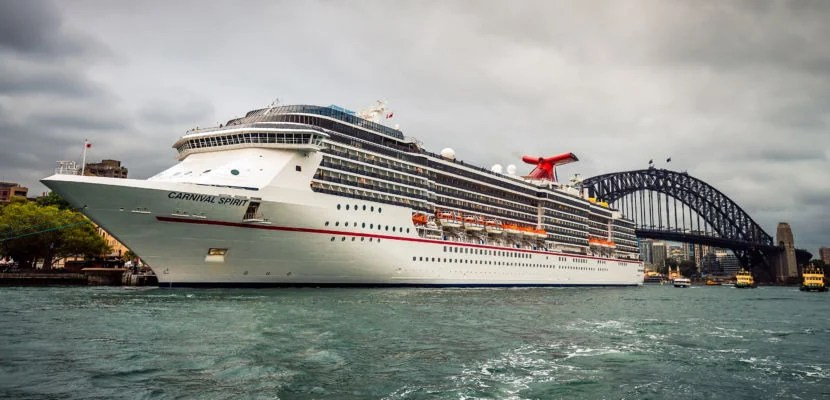 Sydney, Australia - November 7, 2015: Carnival Spirit Cruise ship at Sydney Overseas Passenger Terminal ready to depart for the night cruise.  Carnival Spirit features a lot of different activities for all members of the public with 12 lounges, bars and four swimming pools onboard.