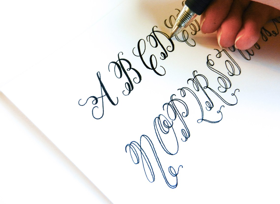 by modeling your letters after those on the free calligraphy worksheet ...