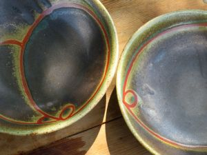 Julie Covington Bowls with Red