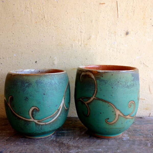 Julie Covington Cups with Swirls
