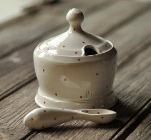Lucy Fagella Sugar Jar and spoon Red Dot