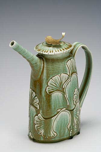 David Voorhees Ginkgo porcelain teapot