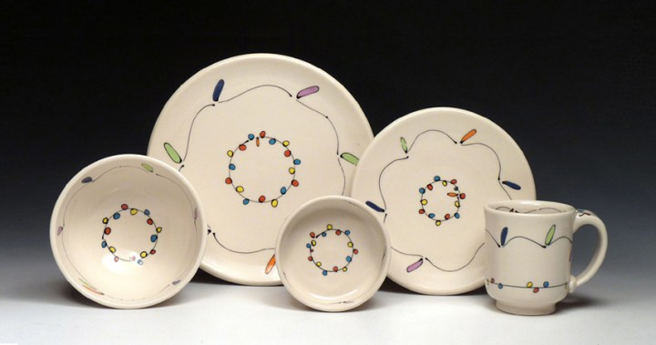 Emily Free Wilson Plates and Cup and Bowls