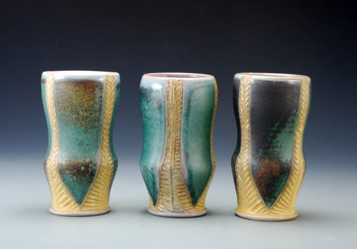 Joy Tanner Green and Yellow Carved Tumblers
