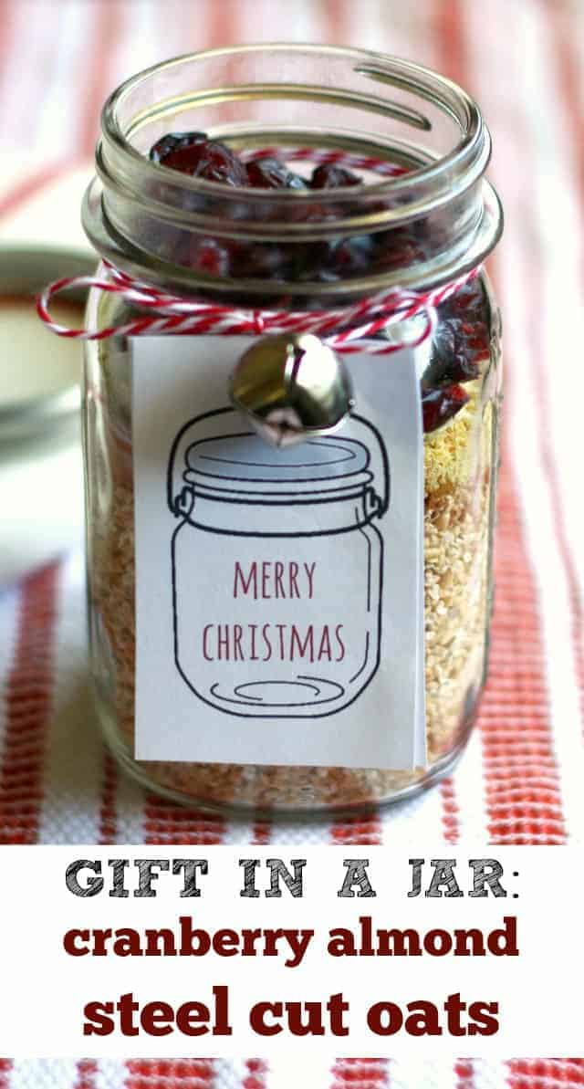 An easy homemade gift - cranberry almond steel cut oats. A tasty and healthy breakfast that makes a perfect gift!