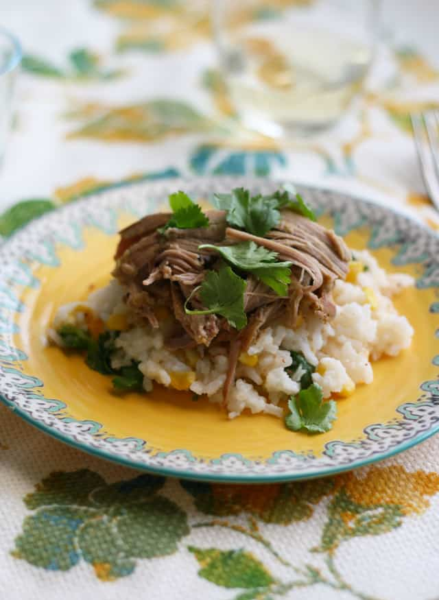 slow cooker pork with salsa verde and cilantro rice