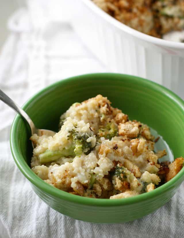 Creamy gluten free and vegan broccoli quinoa casserole.
