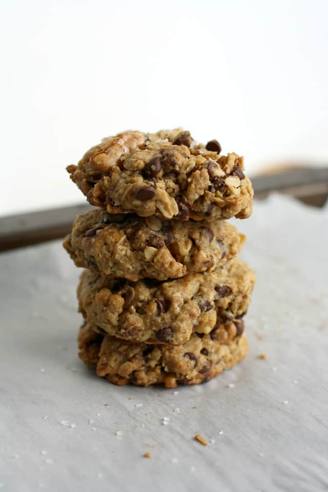 Big and chewy salted chocolate chip oatmeal cookies.