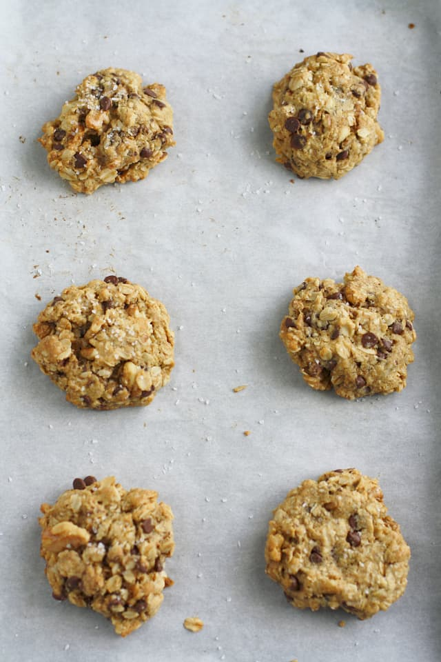 Delicious chocolate chip oatmeal cookies with a sprinkling of sea salt.