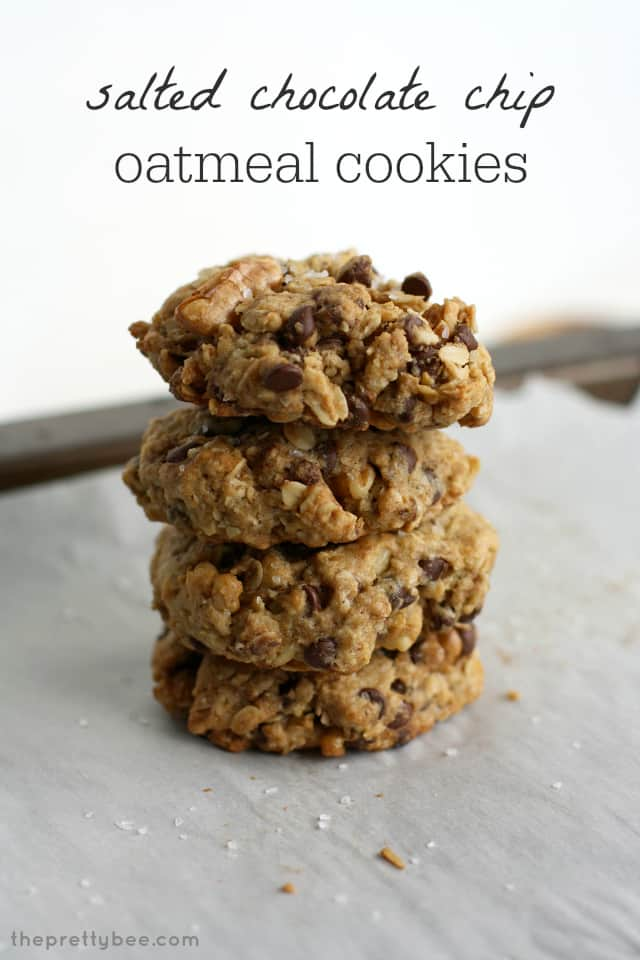 Salted chocolate chip oatmeal cookies - delicious, chewy, and vegan and gluten free!