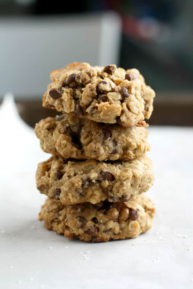 Salted chocolate chip oatmeal cookies - vegan and gluten free.