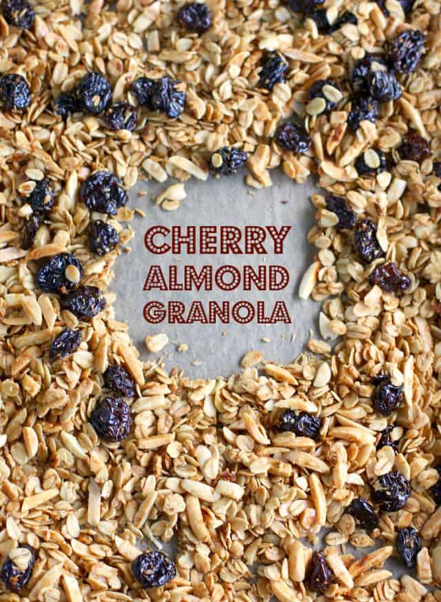 Super easy cherry almond granola recipe. Gluten free and vegan.