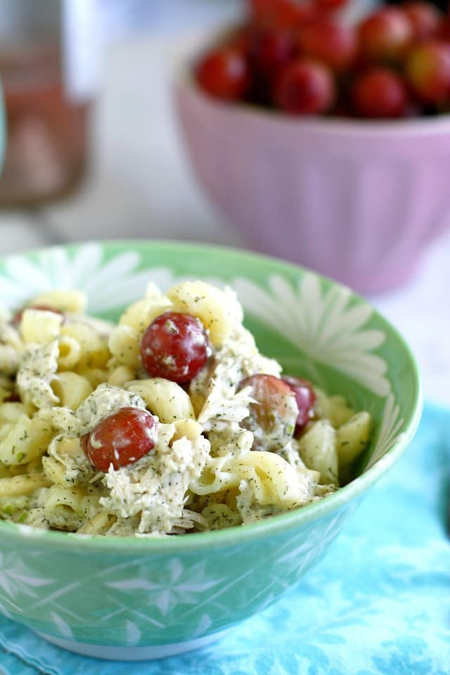 A creamy pasta salad with chicken, grapes, and avocado. Healthy and delicious!