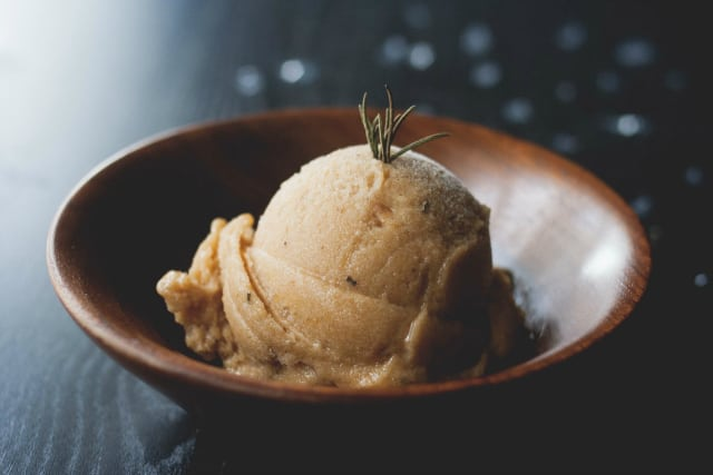 30 No Churn Vegan Ice Cream Reicpes - Peach Rosemary Sorbet from The Road Not Processed