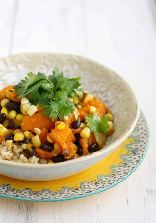 Fresh corn, black bean, and sweet potato rice bowls. #vegan and #glutenfree