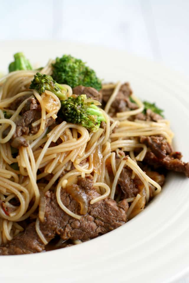 delicious teriyaki noodle bowl with beef and broccoli. Perfect ...
