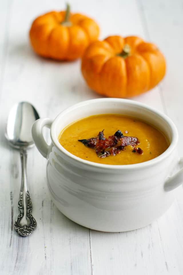 Nothing says fall like butternut squash soup! This version is extra special with the addition of apples and bacon.
