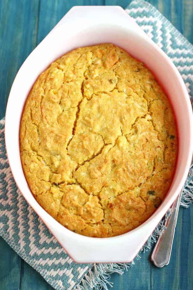 Vegan cheesy cornbread casserole recipe.