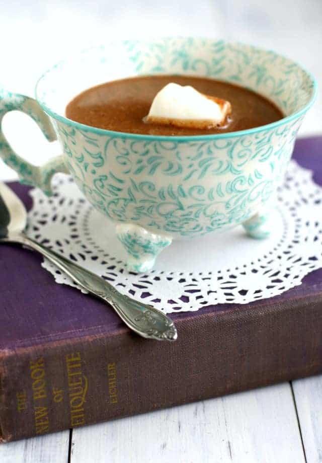 Delicious dairy free decadent coconut cream hot chocolate recipe. #dairyfree