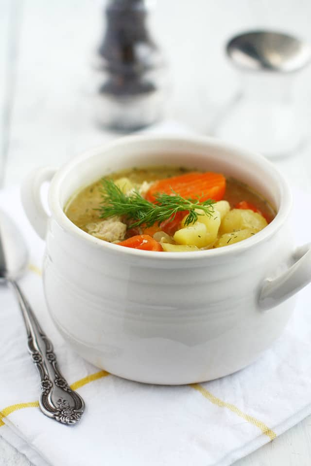 Comforting and delicious chicken and potato soup. So warming for those cold winter days!